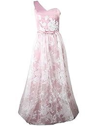 Beylasita Mujer satén cordón Vestido para Ceremonia Cóctel Fiesta Elegantes largo Vestidos de Noche de la dama de honor rosa