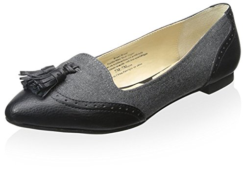 adrienne-vittadini-womens-bruni-flat-grey-black-herringbone-smooth-75-m-us