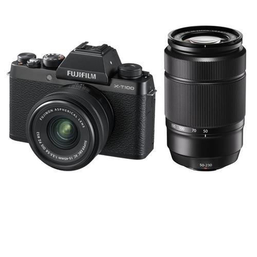 Fujifilm X-T100 Mirrorless Digital Camera, Black with XC15-45mmF3.5-5.6 OIS PZ Lens - with XC 50-230mm (76-350mm) F4.5-6.7 OIS II Lens Black