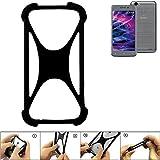 K-S-Trade Handyhülle für Medion Life E5008 Schutz Hülle Silikon Bumper Cover Case Silikoncase TPU Softcase Schutzhülle Smartphone Stoßschutz, schwarz (1x)
