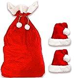 Jonami Saco de Papa Noel + 2 Gorros Navideños | 1 Bolsa Extragrande de Santa Claus Decoraciones + 2 Sombreros Tradicionales en Rojo y...