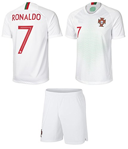 4ce278696 Portugal Away Black Ronaldo Kids  7 Soccer Kit Jersey and Free Shorts All Youth  Sizes