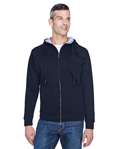 Adult Rugged Wear Thermal-Lined Full-Zip Hooded Fleece NAVY/ HTHR GRY 3XL Zip-hooded Thermal