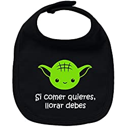 Babero de bebé Si comer quieres, llorar debes (Yoda/Star Wars - parodia). Regalo original. Babero bebé divertido. Bebé friki. (Negro y verde)