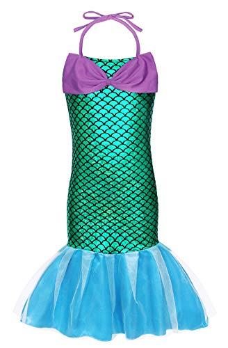 AmzBarley Meerjungfrau Kostüm Kleid Kinder Mädchen Ariel Kostüme Prinzessin Kleider Abendkleid Halloween Cosplay Verrücktes Kleid Geburtstag Party Ankleiden (Halloween-kostüme 1 Jahr)