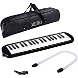 3D Cloud Melodica Music Instrument Piano Style 37 Key, Air Piano Keyboard,Wind Musical Instrument Folk World Key Mouthpiece Tube Portable with Carrying Bag Musical Instrument for Music Lovers (Black)