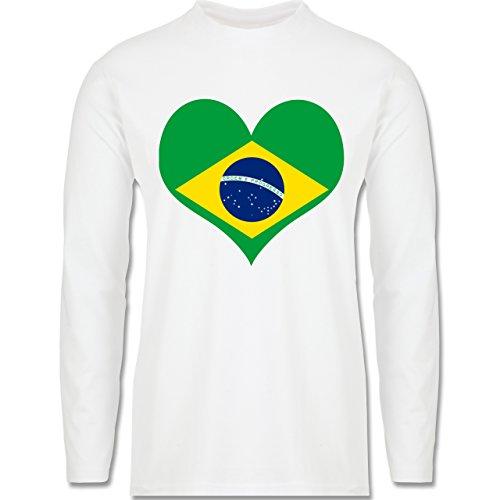 Länder - Brasilien Herz - Longsleeve / langärmeliges T-Shirt für Herren Weiß