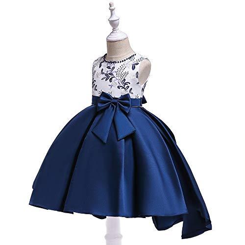 Grouptap Satin blau Bogen Abschlussball Prinzessin Sommer Mädchen Kinder Party formelle Kleidung gestickte Blume Kleid Alter 5-6 7-8 Kinder (Blau, 110-130 cm/Alter 5-8) -