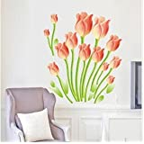 SYGA Wall Sticker Orange Tulips Flowers Home Decal Wall Vinyl Living Room Bedroom PVC Art Picture Murals Waterproof DIY Stick For Adults Teems Kids Nursery Baby(Orange)