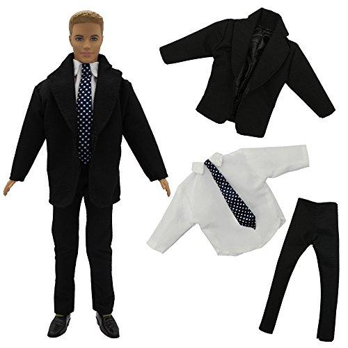 2aae2b73e14090 ZITA ELEMENT Bräutigam Set Herren Anzug Puppenkleidung für Barbie Freund Ken  Mann Kostüm Hochzeit Arbeitsanzug Braut