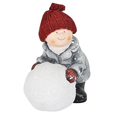 16cm Ceramic Christmas Sitting Boy With Snowball Figurine Xmas Home Decoration