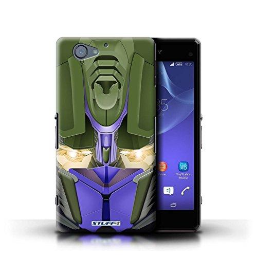 Kobalt® Imprimé Etui / Coque pour Sony Xperia A2 / Mega-Bot Jaune conception / Série Robots Opta-Bot Bleu