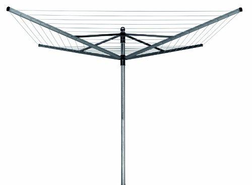 Brabantia Wäschespinne Lift-O-Matic, höhenverstellbar, 45 mm Rohr, 50 m Wäscheleine, mit Metall-Bodenanker und Schutzhülle