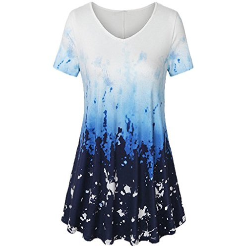 YEBIRAL Damen T-Shirt Sommer Lässige Kurzarm Plissee Swing Drucken V-Ausschnitt Lose Tunic Tops Bluse Shirts(EU-38/CN-M,Blau)