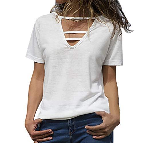 Axong Femme T-Shirt à Manches Courtes, Sexy Encolure Col en V Tops Couleur Unie de Chemise en Vrac Casual Mode Tee-Shirt