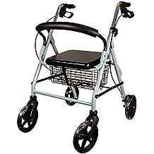 Mobiclinic Andador para Ancianos de 4 Ruedas   con Frenos en manetas, Altura Regulable,