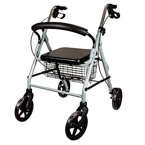 Andador para ancianos de 4 ruedas | Con frenos en manetas, altura regulable, plegable, cesta, respaldo y asiento | Mod. Sofía | Mobiclinic