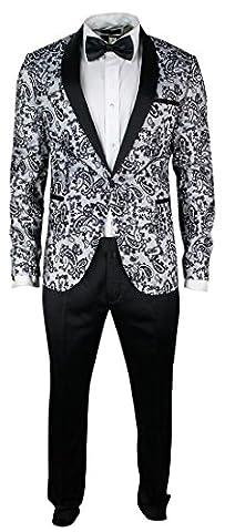 Mens Slim Fit Shawl Round Lapel Tuxedo Suit Satin Velvet Embroidery Black White