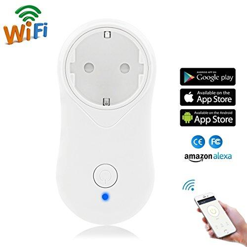 Intelligent WLAN Steckdose (EU), Hompie Wifi Smart Plug mit 2A USB, funktioniert mit Smartphone (IOS und Android), Kompatibel mit Echo alexa, steuern Sie Ihr Gerät von überall