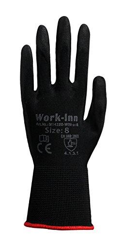 12 Paar Arbeitshandschuhe Montage-Handschuhe PU-Beschichtung | Größe M | Nylon-Handschuhe nahtlos | wasserabweisende Grip-Handschuhe | Schutzhandschuhe + atmungsaktiv + rutschfest + reißfest + EN388 (Arbeits-handschuhe Gummi Beschichtete)