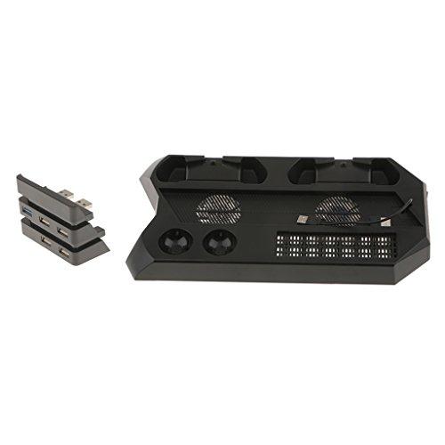 MagiDeal Ventilador Dual +5 Port USB 3.0 HUB para PS4 de Velocidad de Expansión USB Compatible con Sony PlayStation 4