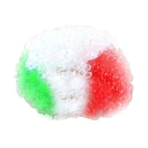 Party Disco Afro Clownhaar Fußball Erwachsenes Kind Kostüm Lockige Perücke 13 Länder - Italien, 110 cm * 120 cm / 43.3inch * 47.24inch