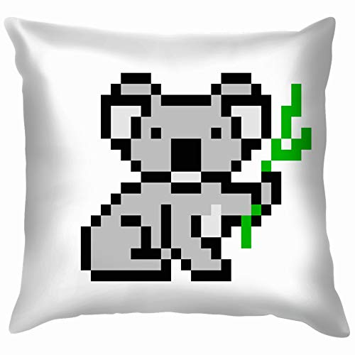 Koala Bear Character Isolated Animals Wildlife 8 Bit Funny Square Throw Pillow Cases Cushion Cover for Bedroom Living Room Decorative 18X18 Inch ()