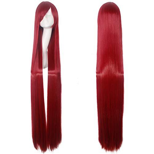 oll gerade rote Frauen Dame Haar für Cosplay perücke hitzebeständig ()