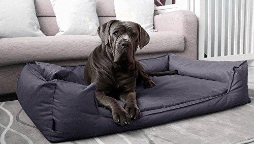 tierlando® Orthopädisches Hundebett GOOFY VISCO fest gewebtes Polyester M L XL XXL XXXL | 90 - 185 cm (G4 | 110 x 90 cm, 02 | Graphit)