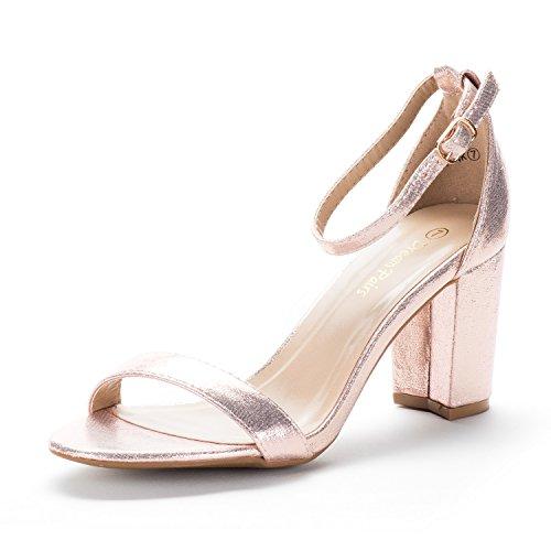 Dream pairs chunk sandali tacco basso pump per donna champagne 38.5 eu