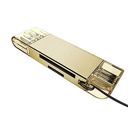 Xshuai High Speed USB 3.0 + Typ C 2 in 1 Speicherkartenleser Flash-Adapter Micro SD SDXC (Gold)