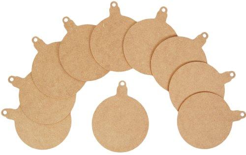 Sconosciuto country love crafts - sagoma piatta in legno grezzo a forma di palla di natale, colore: marrone chiaro