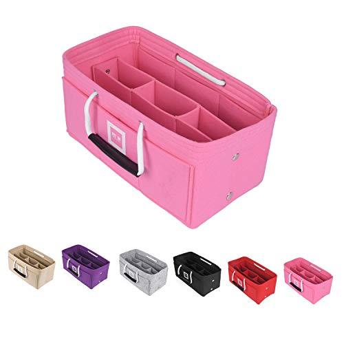 FIT IN Filz Organizer für Handtaschen–Handtaschenorganizer mit Tragegriffen Lösung: Fest fixierte Innenfächer durch Druckknöpfe–Bag in Bag Ordnung [33x16x16cm Bubblegum Pink, XLarge]