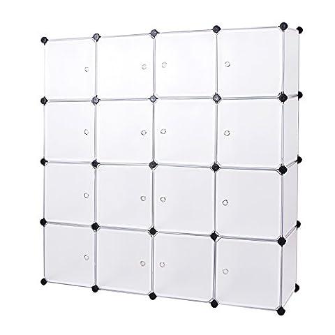 Songmics Cubes/étagère de rangement blanc modulables plastiques cadre en métal LPC44B