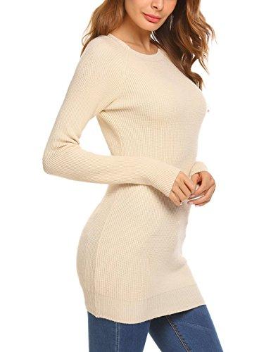 Damen Winter Figurbetonter Pullover Langarm mit Rundhalsausschnitt Strickkleid Strickpullover Longpullover Oberteil Einfarbig A-Beige