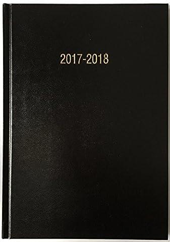 précieux 2017–2018Agenda scolaire milieu d'année Noir Format A5Jour par page