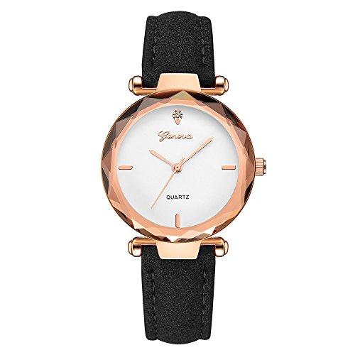 IG-Invictus Mode Leder Band Analog Quarz Runde Armbanduhren 607 Geneva Watch Weißes Gesicht Schwarz GENF (Weißes Gesicht, Schwarze Band-uhr)