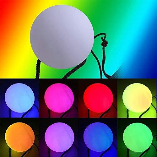 LED Poi,NHsunray Glow Thrown Bolas Multicolor Pelota para Profesional Danza del Vientre Plano Mano Destello Props (blanco)