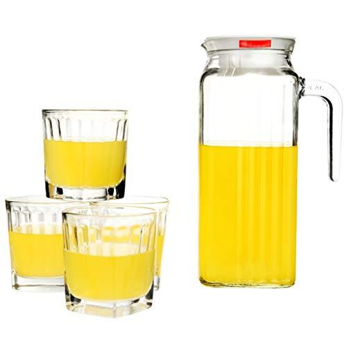 Wasserkanne Glas PitcherKitchen Glas Wasserkocher Krug Set Saft Topf Getränketopf Große Kapazität 1000ml (Color : Clear, Size : 21.1 * 8.8cm)