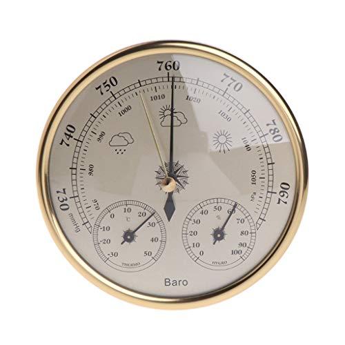 Wandmontiertes Haushaltsbarometer Thermometer Hygrometer Wetterstation Hängende Wetterstationen (Color : Gold)
