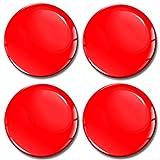 Skino 4 x 65mm Aufkleber 3D Gel Silikon Autoaufkleber Stickers Farbe Rot Felgenaufkleber Für Radkappen Nabenkappen Radnabendeckel Rad-Aufkleber Nabendeckel Auto Tuning Andere Größe A 1065
