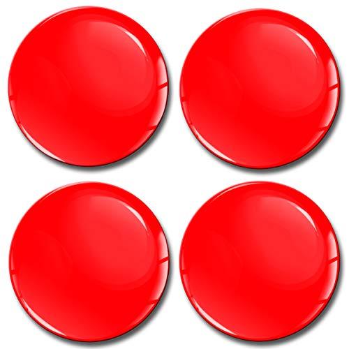 Skino 4 x 55mm Aufkleber 3D Gel Silikon Autoaufkleber Stickers Farbe Rot Felgenaufkleber Für Radkappen Nabenkappen Radnabendeckel Rad-Aufkleber Nabendeckel Auto Tuning Andere Größe A 1055