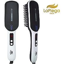 LaPiega Bellezza, Cepillo Alisador Termico, HQ Cabello Perfecto y Reluciente, Control de la Temperatura con Pantalla LCD