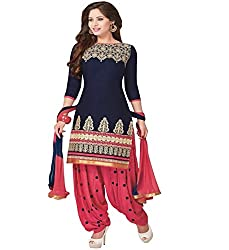 Muta Fashions Solid Traditional Girl's Salwar Kamiz ( Semi Stitched_Free Size_Navy Blue )