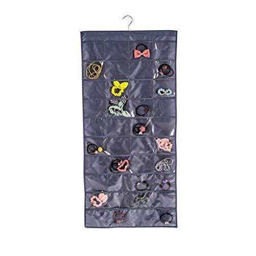 HOMEDAI 80 Tasche Doppelseitig Schmuck-Organizer,Schmuckaufbewahrung Schmuck hängend lagerung Organizer mit Kleiderbügel für zu Hause und unterwegs,Darkgray - Hängende Schmuck Lagerung