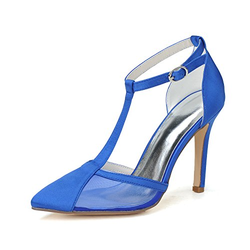 Le scarpe eleganti delle scarpe con tacco a forma di stelo tiepano i sandali trasparenti Blue