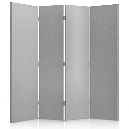 Feeby Frames, Los biombos de tela, tabique decorativo para habitaciones, a doble cara, de 4 piezas (145x180 cm), CUERO SINTÉTICO, LISO, GRIS, GLAMOROSO