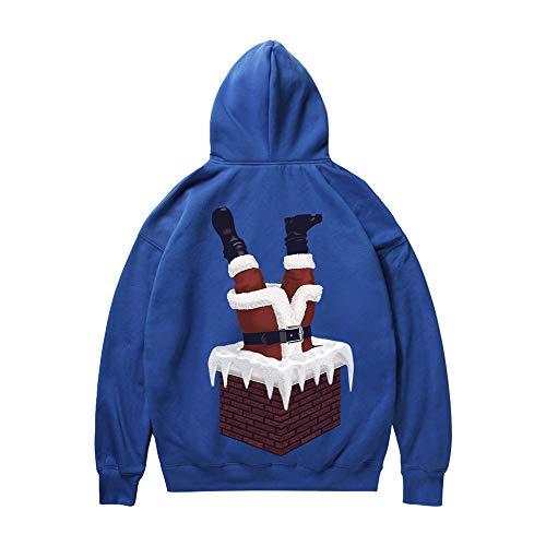 SEWORLD Weihnachten Christmas Herren Herbst Winter Männer Frau Weihnachten Weihnachtsmann Drucken Langarm Kapuzenpulli Tops Bluse(X4-blau,EU-52/CN-XL)