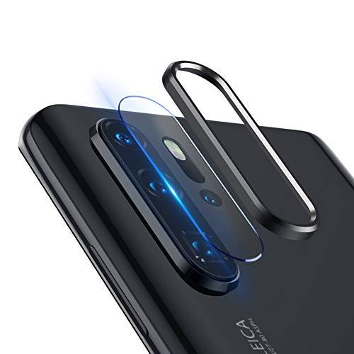 qichenlu 3X Kamera Glas Foie + 2X Kamera Alu Schutzring (Schwarz) für Huawei P30 Pro, P30 Pro Rückseite Kamera Schutz Set,Linsen Metall Rahmen Klar 6D Willow Glas Kratzfest Kamera Hinten Schutz -