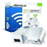 Devolo dLAN 550 WiFi, Prise Réseau CPL WiFi (500 Mbit/s via CPL, 2x Adaptateur, 1x Port Fast Ethernet, Amplificateur WiFi, augmenter Portée WiFi, Courant Porteur, WiFi Move) - Kit de Démarrage, Blanc